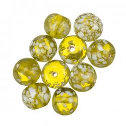 Green Transparent Speckled Round Glass Beads 10mm PK10