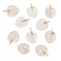 Shiny Light Pink Glass Leaf Charm Pendants 16x12mm PK10