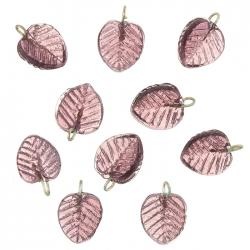 Shiny Purple Glass Leaf Shape Charm Pendants 16mm PK10