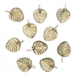 Shiny Grey Glass Leaf Shape Charm Pendants 16x12mm PK10