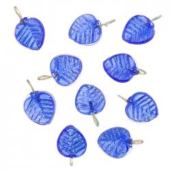 Shiny Dark Blue Glass Leaf Charm Pendants 16x12mm PK10