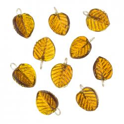 Shiny Brown Glass Leaf Shape Charm Pendants 16mm - PK10