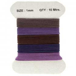 Waxed Cotton 1mm Jewellery Cords Plush Purple Mix - 10m