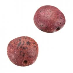 Dark Pink Flat Round Pebble Ceramic Focal Beads - 22mm