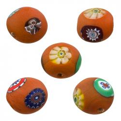 Matte Orange Millefiori Round Flat Glass Beads 12mm PK5