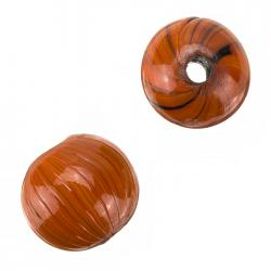 Black And Orange Wavy Stripe Round Glass Beads 20mm PK2