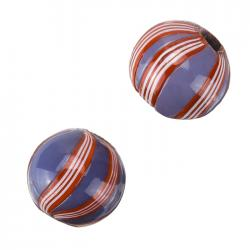 Lilac And Red Wavy Striped Round Glass Beads 20mm (PK2)