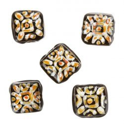Silver Orange Hand Painted Black Square Glass Bead 10x10x5mm PK5