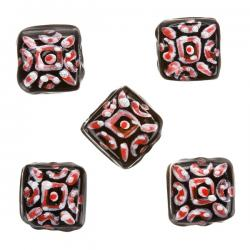 Silver Red Hand Painted Black Square Glass Bead 10x10x5mm PK5