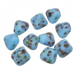 Multi Colored Speckled Twisted Blue Square Glass Beads 10mm PK10