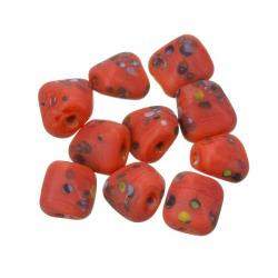Multi Colored Speckled Twisted Red Square Glass Beads 10mm PK10