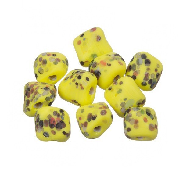 Multi Colored Speckled Twisted Yellow Square Glass Bead 10mm PK10