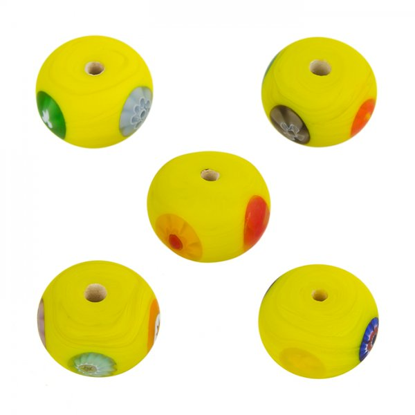 Millefiori Yellow Flat Round Matt Glass Floral Beads 14x10mm PK5