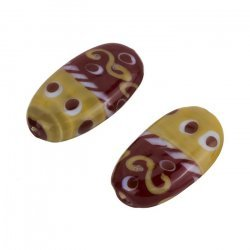 Red/Brown Swirl Dot Patterned Flat Oval Shiny Glass Bead 28mm PK2