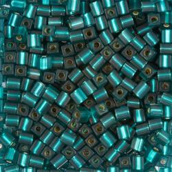 Miyuki Matt Silver Lined Teal 4mm Square Seed Beads 20g