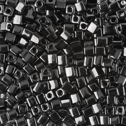 Miyuki Opaque Black 4mm Square (Cube) Seed Beads 20g