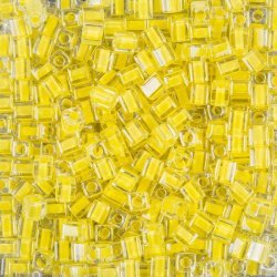 Miyuki Colour Lined Yellow 4mm Square Seed Beads 20g