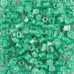 Miyuki Colour Lined Green 4mm Square Seed Beads 20g