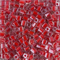 Miyuki Colour Lined Red 4mm Square Seed Beads 20g Tube