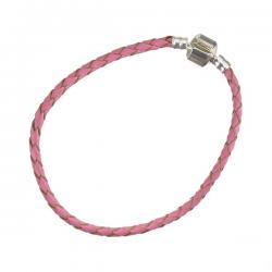 Braided Pink Leather Bracelet With Snap Clasp 20cm