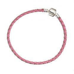 Pink Braided Leather Bracelet With Snap Clasp 21cm
