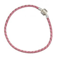 Leather Bracelet Braided Pink With Snap Clasp 22cm