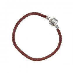 Red Braided Leather Bracelet With Snap Clasp 17cm
