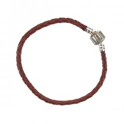 Braided Red Leather Bracelet With Snap Clasp 18cm