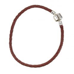 Red Braided Leather Bracelet With Snap Clasp 21cm