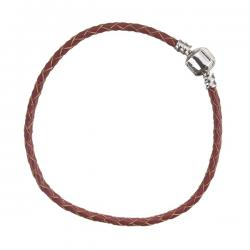 Red Braided Leather Bracelet With Snap Clasp 22cm