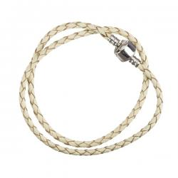 Cream Double Wrap Braided Leather Bracelet 39cm