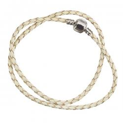 Cream Double Wrap Braided Leather Bracelet 43cm