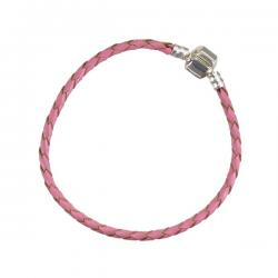 Pink Plaited/Braided Leather Bracelet Cord 19cm