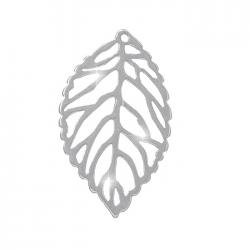 925 Sterling Silver Filigree Leaf Pendant 26x15mm PK1