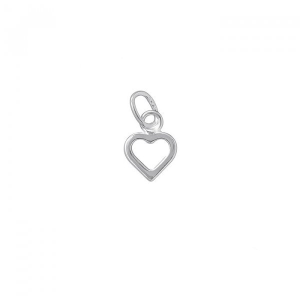 Sterling Silver 925 Open Heart Charm and Bail 7mm PK1