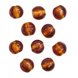 Silver Lined Trans. Pink/Orange Glass Beads 10mm PK10