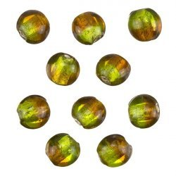 Two Tone Silver Lined Green/Brown Disc Glass Beads 10mm PK10
