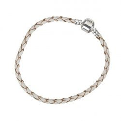 Braided Cream Leather Bracelet With Snap Clasp 20cm