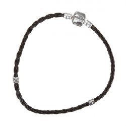 Braided Black Leather Bracelet With Bead Stops 22cm