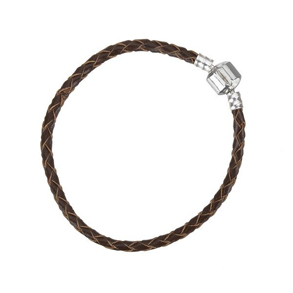 Braided Brown Leather Bracelet With Snap Clasp 19cm