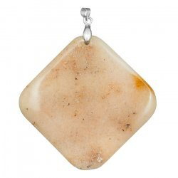 Golden Jade Pendant Flat Square with Silver Plated Bail 60mm