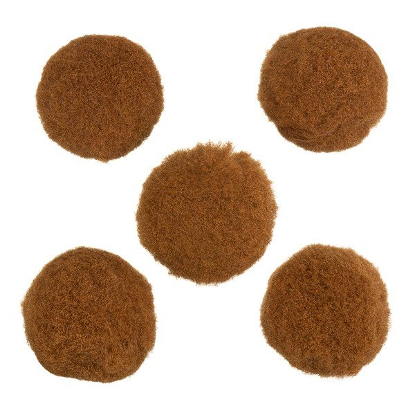 Brown Wool Pom Pom Round Ball Beads 20mm Pack of 5 (PK5)