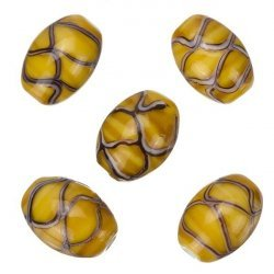 Oval Wavy Patterned Brown Shiny Glass Beads 18x13mm PK5