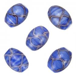 Oval Wavy Patterned Blue Shiny Glass Beads 18x13mm PK5