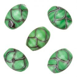 Oval Wavy Patterned Green Shiny Glass Beads 18x13mm PK5