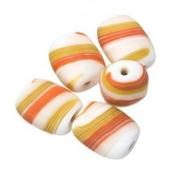 Matt Orange/Brown Pebble Flat Barrel Striped Glass Beads 18mm PK5