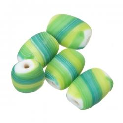 Matt Green Pebble Flat Barrel Candy Striped Glass Beads 18mm PK5
