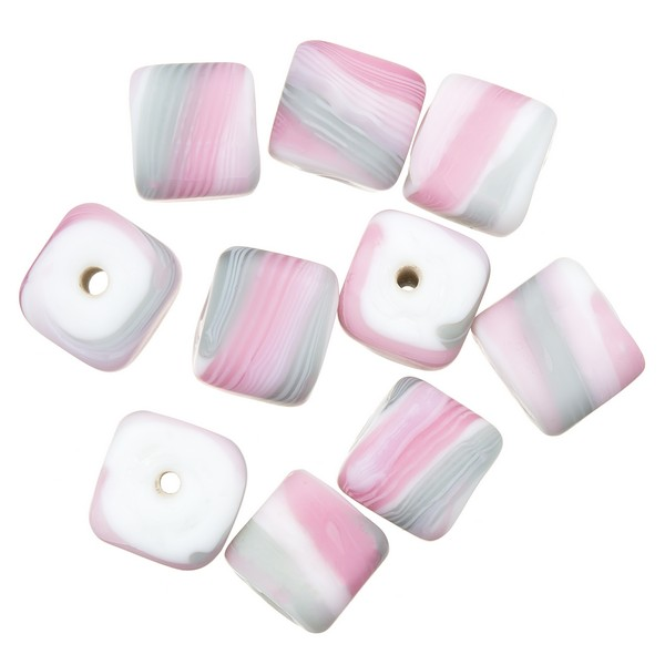 Pink & Grey Candy Striped Cube Glass Beads 10mm (PK10)