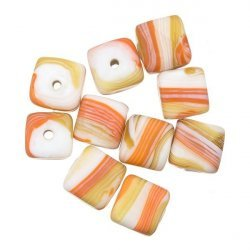 Orange & Brown Candy Stripe Cube Glass Beads 10mm PK10