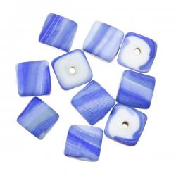 Blue Candy Striped Cube Shaped Glass Beads 10mm (PK10)